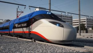 Concept art for Amtrak's proposed high-speed rail trainsets
